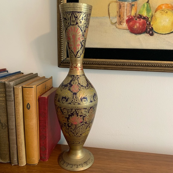 Tall MCM Etched Brass Vase